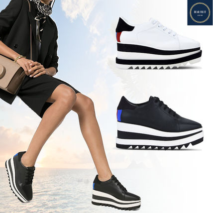 Star Platform Lace-up Casual Style Street Style Logo