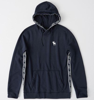 Abercrombie & Fitch Hoodies Unisex Long Sleeves Plain Cotton Logo Surf Style Hoodies