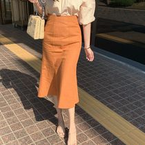 Casual Style Linen Plain Medium Office Style Midi Skirts
