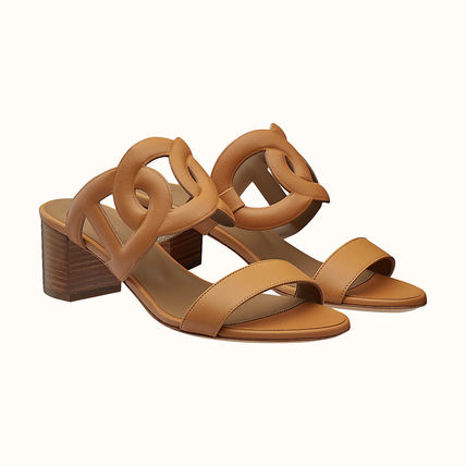 HERMES Open Toe Casual Style Leather Elegant Style Mules Sandals