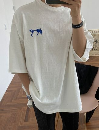 ASCLO More T-Shirts Street Style Collaboration Plain Cotton Short Sleeves 2