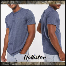 Hollister Co. Pullovers Henry Neck Plain Cotton Short Sleeves Logo