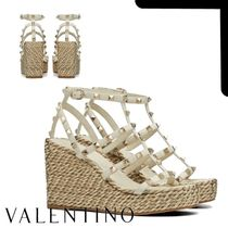VALENTINO Open Toe Casual Style Studded Plain Leather Elegant Style