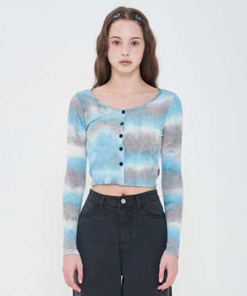 Short Casual Style Street Style Tie-dye Long Sleeves Cropped