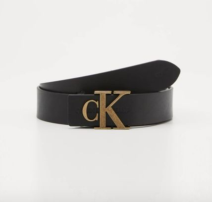 Casual Style Unisex Plain Leather Logo Belts