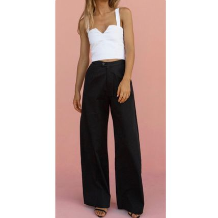 Casual Style Plain Cotton Long Short Length Bottoms