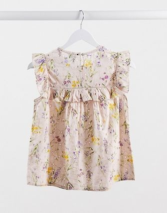 Flower Patterns Sleeveless Cotton Elegant Style