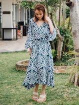 LAUT BLUE Maxi Cropped Long Puff Sleeves Dresses