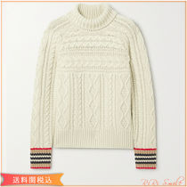 Burberry Cable Knit Cashmere Long Sleeves Plain Logo Turtlenecks
