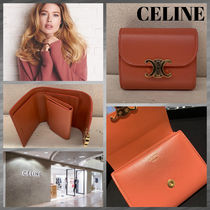 CELINE Triomphe Calfskin Lambskin Plain Leather Khaki Folding Wallet