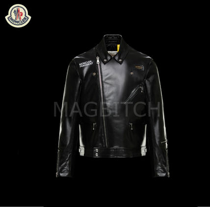 MONCLER MONCLER GENIUS Short Street Style Plain Leather Biker Jackets