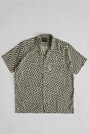 Button-down Stripes Unisex Silk Street Style Short Sleeves