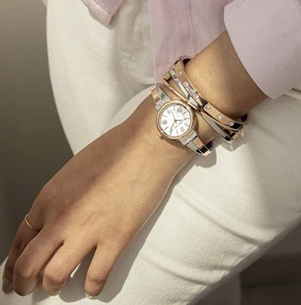 Round Quartz Watches Jewelry Watches Stainless With Jewels