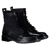 DIESEL Plain Toe Mountain Boots Street Style Leather Logo