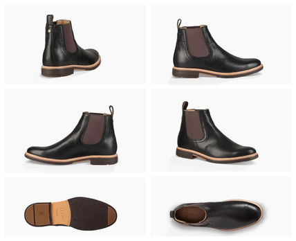 UGG Australia Suede Blended Fabrics Bi-color Plain Leather Chelsea Boots