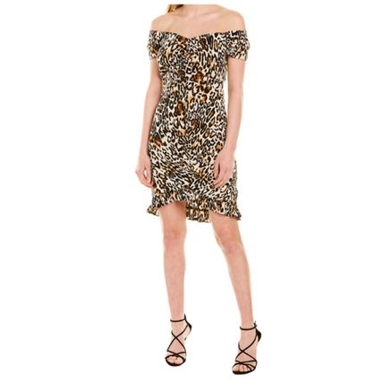 Short Leopard Patterns Tight Party Style Elegant Style