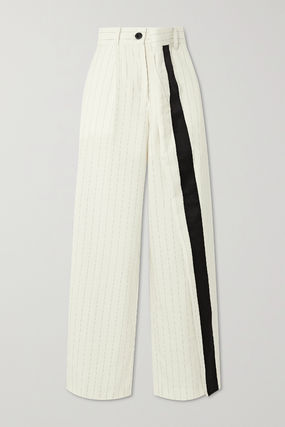 Stripes Casual Style Wool Blended Fabrics Long Party Style