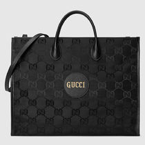 GUCCI Unisex A4 2WAY Plain Leather Logo Totes