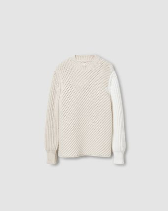 Crew Neck Cable Knit Pullovers Nylon Blended Fabrics