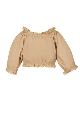 Casual Style Cropped Plain Cotton Party Style Puff Sleeves