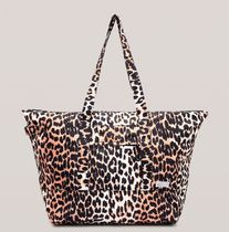 Ganni Leopard Patterns Casual Style Nylon A4 Plain Logo Totes