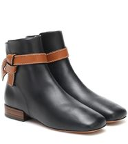 LOEWE Square Toe Plain Leather Elegant Style Ankle & Booties Boots