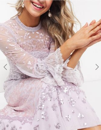 Long Sleeves Party Style High-Neck Lace Elegant Style