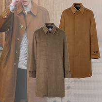 Burberry Stand Collar Coats Other Plaid Patterns Wool Cashmere Plain