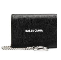 BALENCIAGA EVERYDAY TOTE Chain Plain Leather Folding Wallet Logo Folding Wallets