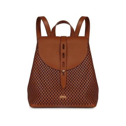 Casual Style A4 Plain Leather Office Style Logo Backpacks