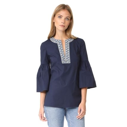 Tory Burch Cropped Plain Cotton Medium With Jewels Tunics