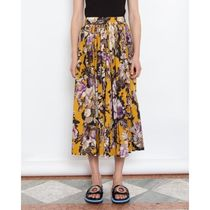 Dries Van Noten Flared Skirts Flower Patterns Cotton Medium Elegant Style