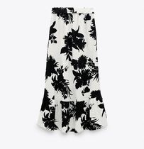 ZARA Flower Patterns Casual Style Linen Medium Midi Skirts