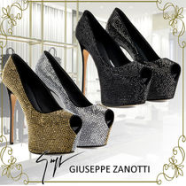 GIUSEPPE ZANOTTI Open Toe Platform Suede Bi-color Plain Pin Heels Party Style