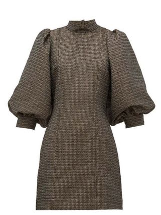 Short Casual Style A-line Tweed Blended Fabrics Street Style