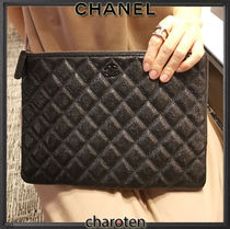 CHANEL ICON Unisex Calfskin Bag in Bag 2WAY Plain Leather Logo Clutches