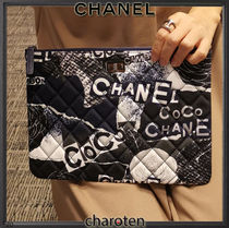 CHANEL ICON Flower Patterns Unisex Canvas Bag in Bag 2WAY Logo Clutches