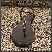 CHANEL ICON Open Toe Casual Style Chain Plain Leather Party Style