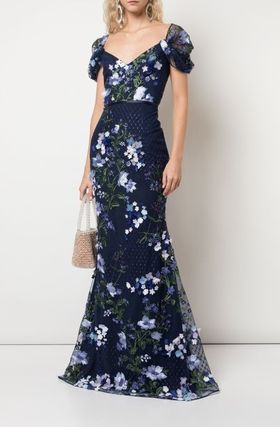 Flower Patterns Maxi Long Short Sleeves Dresses