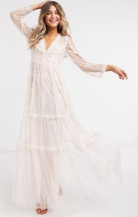 Flower Patterns Maxi Long Sleeves Long Lace Dresses