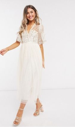 Flower Patterns Medium Long Short Sleeves Lace Dresses