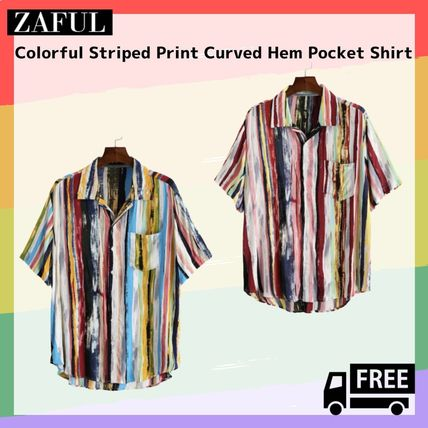 ZAFUL Shirts Button-down Stripes Unisex Street Style Short Sleeves Shirts