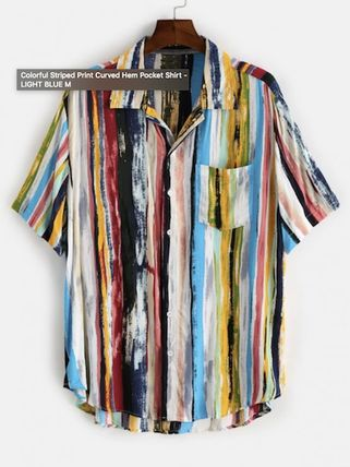 ZAFUL Shirts Button-down Stripes Unisex Street Style Short Sleeves Shirts 2