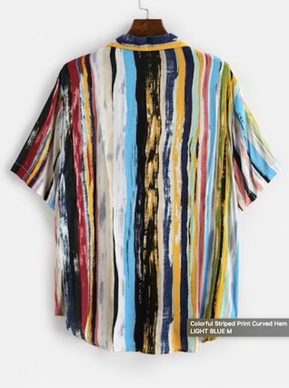 ZAFUL Shirts Button-down Stripes Unisex Street Style Short Sleeves Shirts 3
