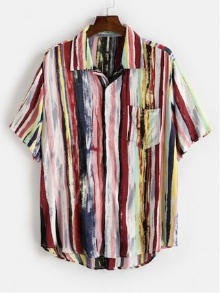 ZAFUL Shirts Button-down Stripes Unisex Street Style Short Sleeves Shirts 6