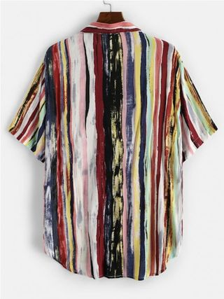 ZAFUL Shirts Button-down Stripes Unisex Street Style Short Sleeves Shirts 7