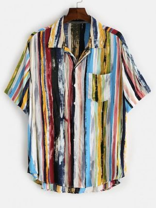 ZAFUL Shirts Button-down Stripes Unisex Street Style Short Sleeves Shirts 10