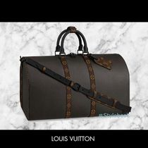 Louis Vuitton Monogram Unisex Canvas A4 2WAY Leather Boston Bags