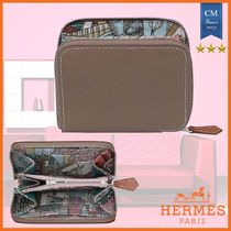 HERMES Silk In Blended Fabrics Leather Long Wallet  Coin Cases
