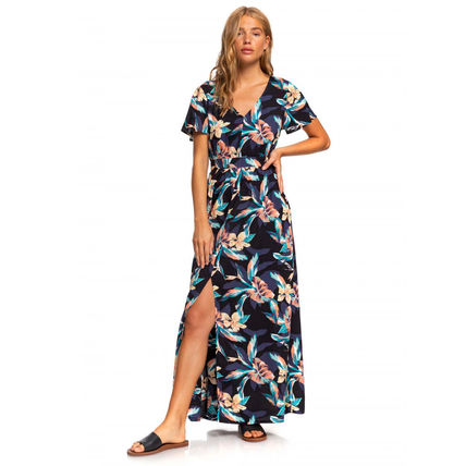 ROXY Flower Patterns Tropical Patterns Casual Style Maxi V-Neck